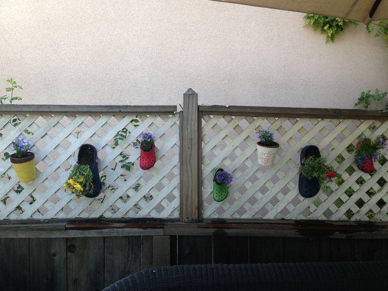 Crocs as hanging planters